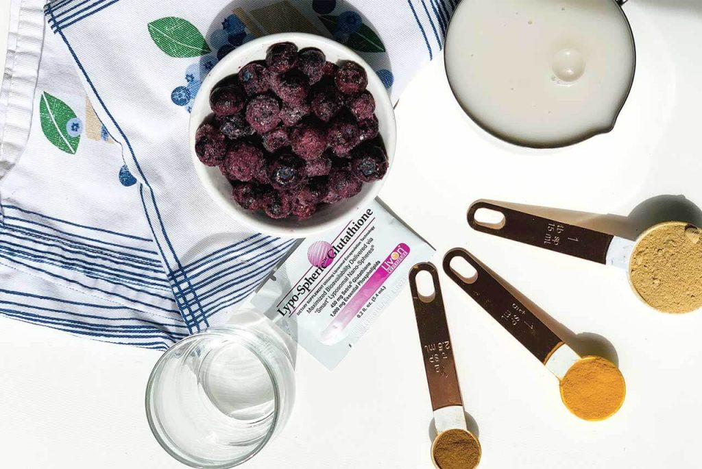 overhead photo of ingredients in the forever young shot