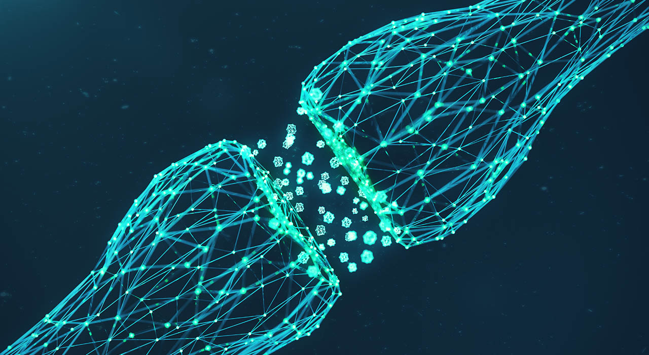 3D rendering blue glowing synapse. Synaptic transmission lines of pulses.