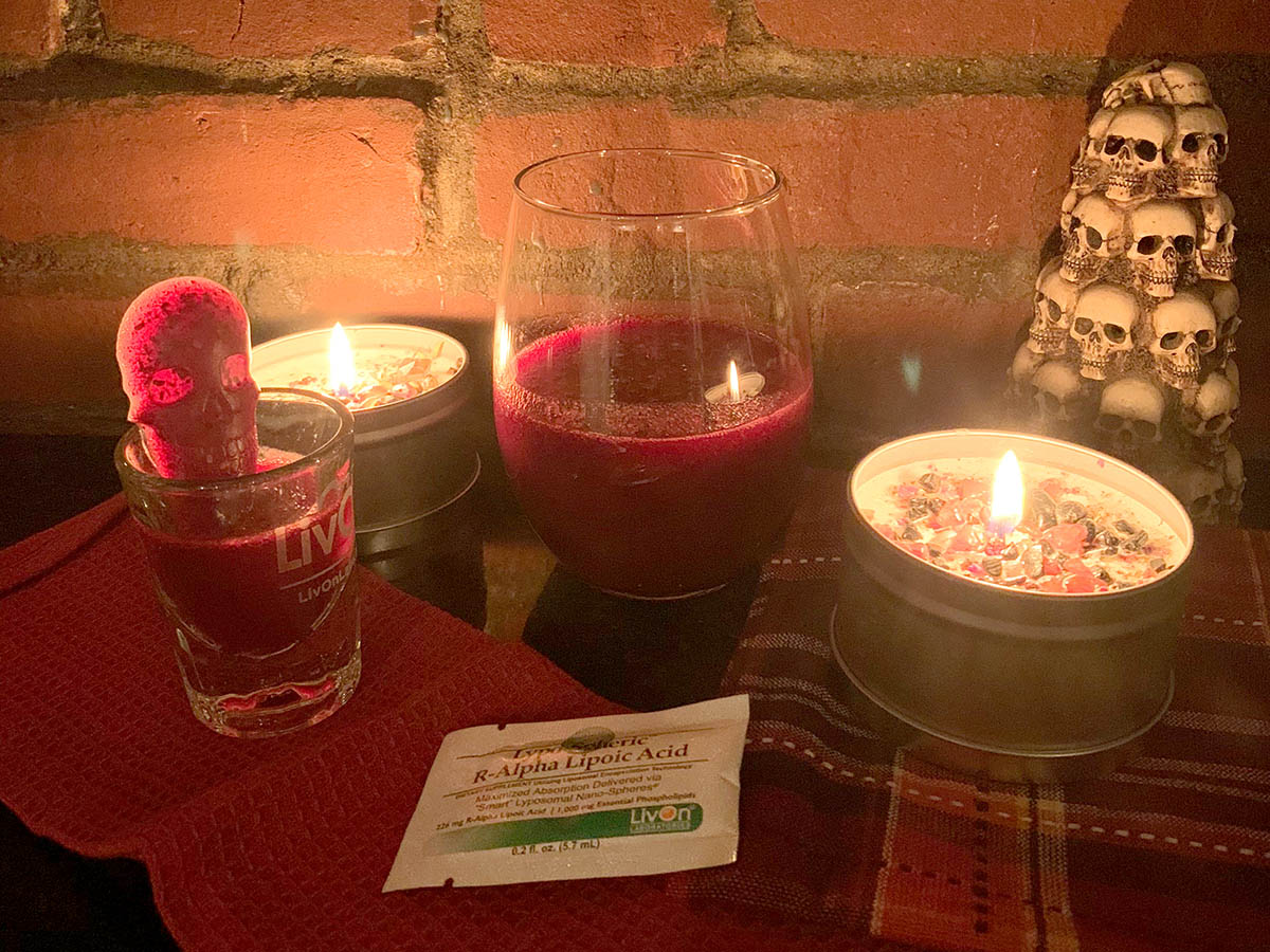 better than blood skin drink with lypo-spheric alpha lipoic acid packet, shot glass, and candles