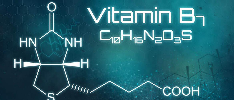 Chemical formula of Biotin, Vitamin B7, on a futuristic background