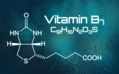 Chemical formula of Biotin, Vitamin B7, on a futuristic background