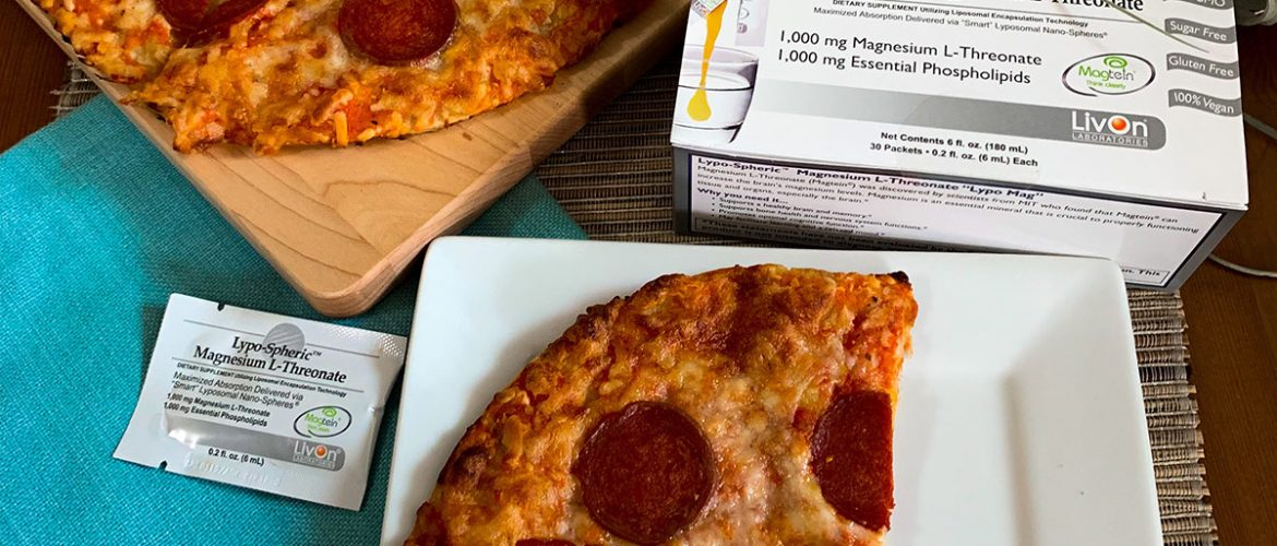 lypo-spheric magnesium l-threonate carton and packet with slices of cauliflower pizza to illustrate minerals and vitamins for gluten free living