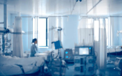 Equipped intensive care unit of modern hospital, unfocused background